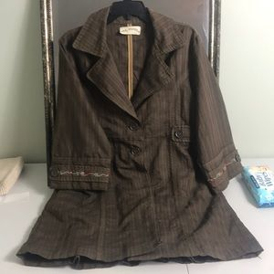 Mrs Pepper embroidered sleeve swing jacket size XL